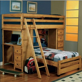 Amber Wash Twin Over Twin Loft Bed - 460141