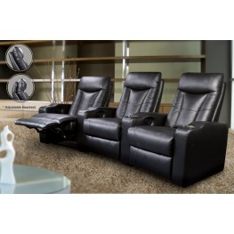 Cyrus Black Leather Match Four-Seat Home Theater Set - 600130-4
