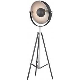 Backstage Matte Black and Polished Nickel Adjustable Floor Lamp
