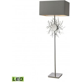 Cesano Polished Nickel Abstract Formed Metalwork LED Floor Lamp