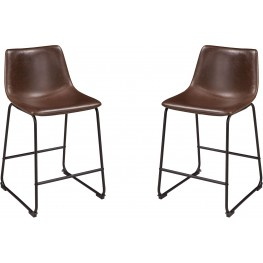 Centiar Brown and Black Upholstered Barstool Set of 2