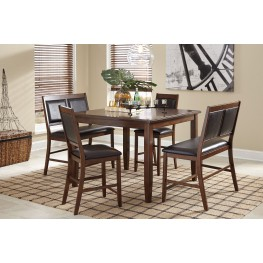 Meredy Brown 5 Piece Counter Height Dining Room Set