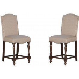 Baxenburg Brown Upholstered Barstool Set of 2