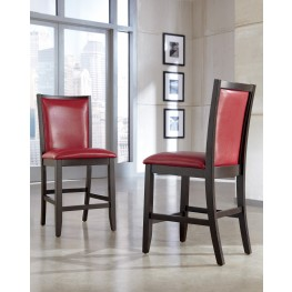 Trishelle Red Upholstered Barstool Set of 2