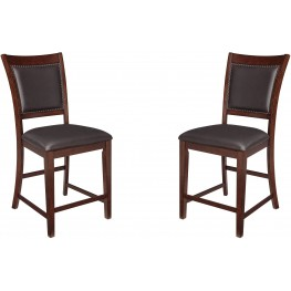 Collenburg Brown Upholstered Barstool Set of 2