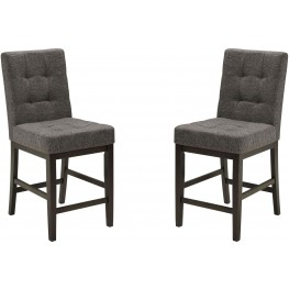Chanella Dark Gray Upholstered Counter Stool Set of 2