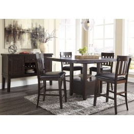 Haddigan Dark Brown Rectangular Extendable Counter Height Dining Room Set
