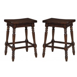 Moriann Dark Wax Black Patina Stool Set of 2