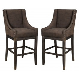 Moriann Dark Brown Tall Upholstered Barstool Set of 2