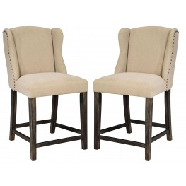 Moriann Light Beige Upholstered Barstool Set of 2
