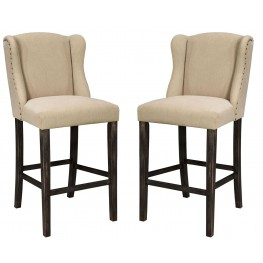Moriann Light Beige Tall Upholstered Barstool Set of 2