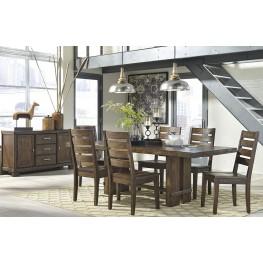 Leystone Dark Brown Rectangular Extendable Dining Room Set