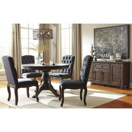 Trudell Dark Brown Round Extendable Pedestal Dining Room Set