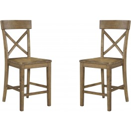 Trishley Light Brown Counter Stool Set of 2