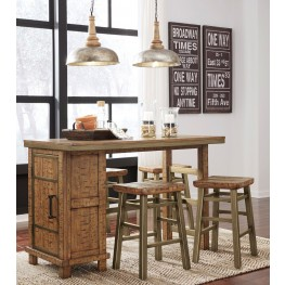 Dondie Warm Brown Rectangular Storage Counter Height Dining Room Set