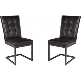 Esmarina Dark Brown Upholstered Side Chair Set of 2
