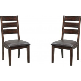 Parlone Dark Brown Dining Upholstered Side Chair Set of 2