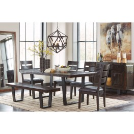 Parlone Dark Brown Rectangular Dining Room Set