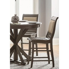 Willow Distressed Dark Gray Upholstered Counter Chair Set of 2