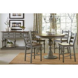 Colonnades Putty and Oak Round Counter Height Dining Room Set