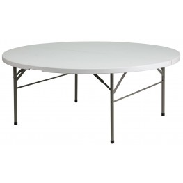 "72"" Round Bi-Fold Granite White Plastic Folding Table"