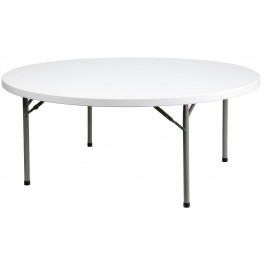 "71"" Round Granite White Plastic Folding Table"