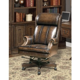 Black/Brown Wipe Leather Desk Chair