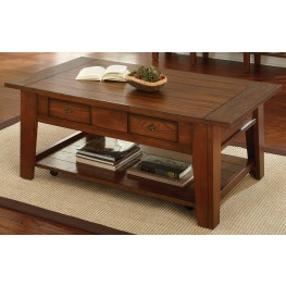 Desoto Medium Red Oak Cocktail Table with Casters