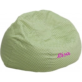 Personalized Oversized Green Dot Bean Bag Chair with Embroidered Text