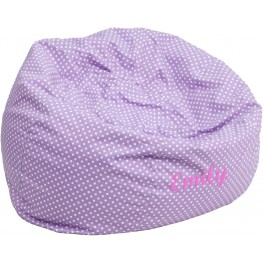 Personalized Oversized Lavender Dot Bean Bag Chair with Text Applique