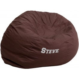 Personalized Oversized Solid Brown Bean Bag Chair with Embroidered Text