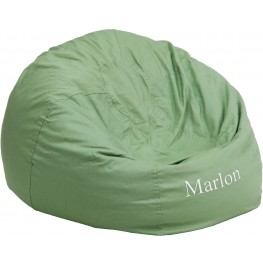 Personalized Oversized Solid Green Bean Bag Chair with Embroidered Text