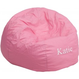 Personalized Oversized Solid Light Pink Bean Bag Chair with Text Applique