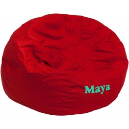 Personalized Oversized Solid Red Bean Bag Chair with Text Applique