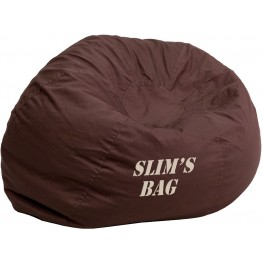 32107 Personalized Small Solid Brown Kids Bean Bag Chair