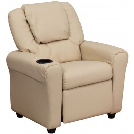 Beige Kids Recliner With Cup Holder And Headrest (Min Order Qty Required)