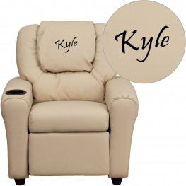 Beige Kids Recliner With Text Applique Headrest (Min Order Qty Required)