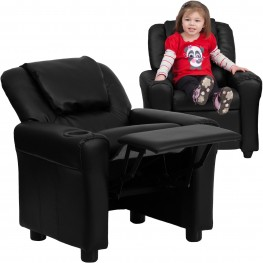 Black Vinyl Kids Recliner With Cup Holder And Headrest (Min Order Qty Required)