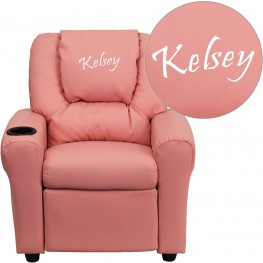 Pink Kids Recliner with Text Applique Headrest