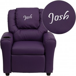Personalized Purple Vinyl Kids Recliner With Headrest (Min Order Qty Required)