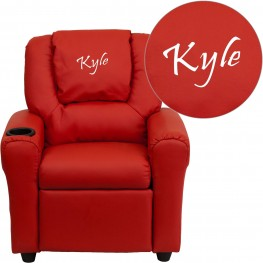 32093 Personalized Red Vinyl Kids Recliner with Headrest