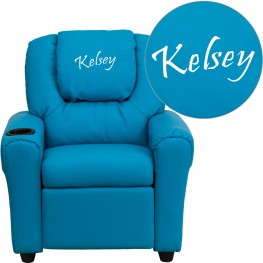 Personalized Turquoise Vinyl Kids Recliner With Cup Holder And Headrest (Min Order Qty Required)