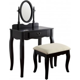 Samantha Black Vanity With Stool