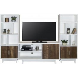 Draper White and Brown Entertainment Wall Unit