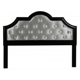 Full/Queen Metallic Upholstered Black Frame Headboard