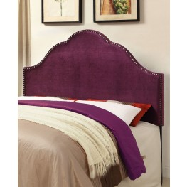 Glam Velvet Plum Queen Upholstered Headboard