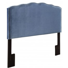 Velvet Indigo Nailhead Shaped King Upholstered Headboard
