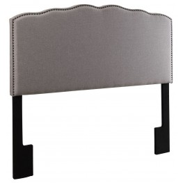 Hayden Silver Nailhead Shaped Queen Upholstered Headboard