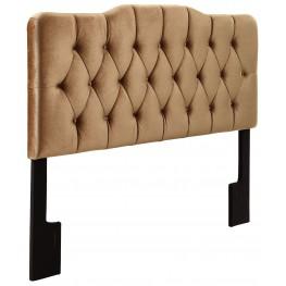 Velvet Bronze King Upholstered Soft Shape Headboard