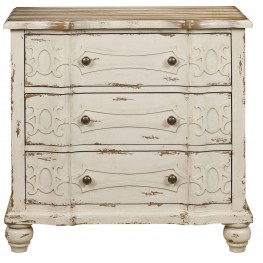 Ornate Overlay Natural Wood Drawer Chest